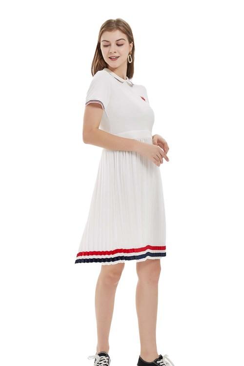 فستان بولو نسائي مريح لون ابيض