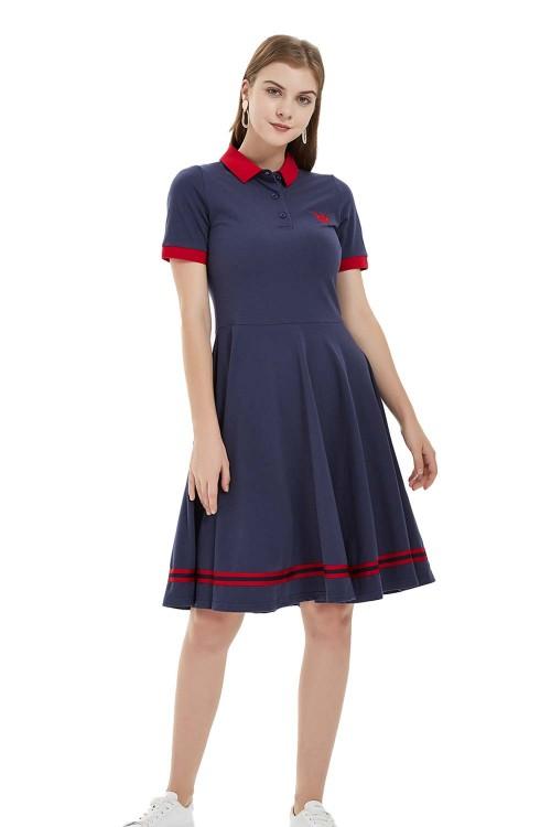 فستان بولو نسائي بتصميم مريح لون كحلي