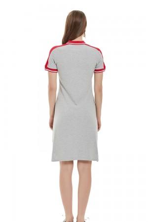 فستان بولو نسائي لون رمادي