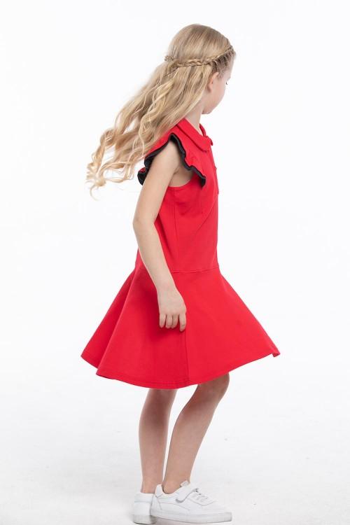 فستان بولو بناتي لون احمر