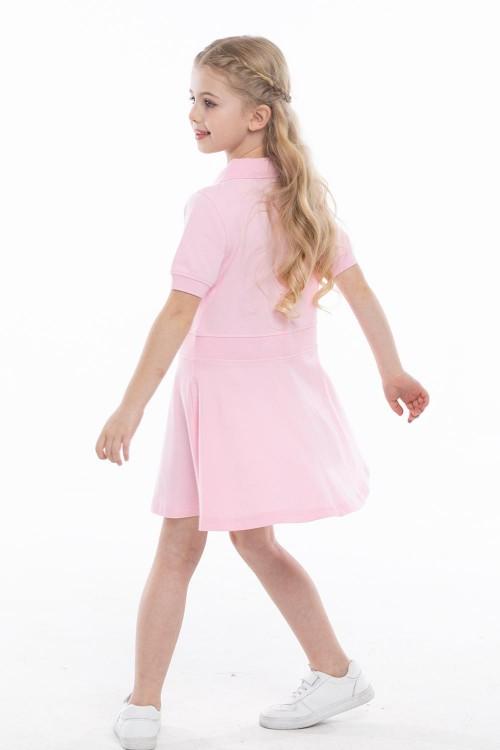 فستان بولو بناتي لون وردي