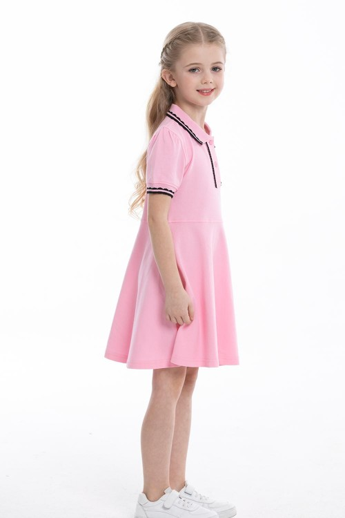 فستان بولو بناتي وردي اللون