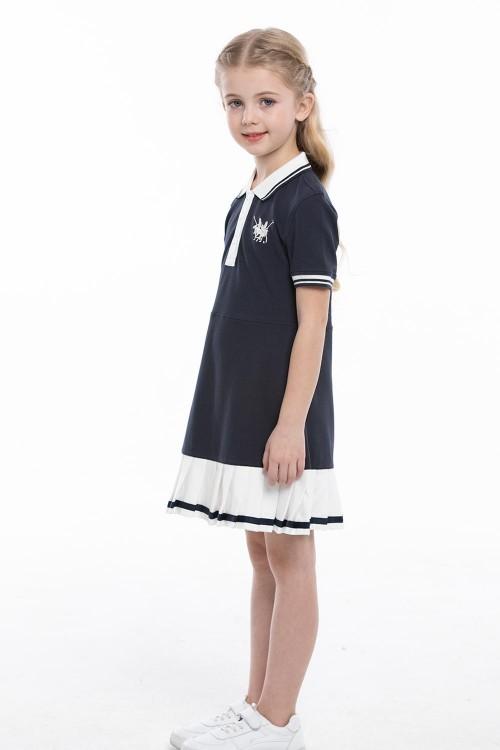 فستان بولو بناتي بلون كحلي