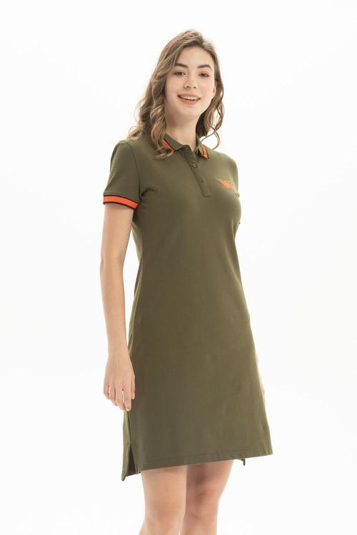 فستان بولو نسائي لون اخضر زيتوني