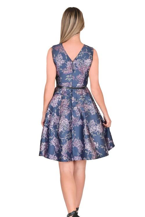 فستان نسائي كحلي  بنمط ازهار