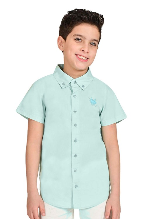 قميص اولاد لون اخضر فاتح