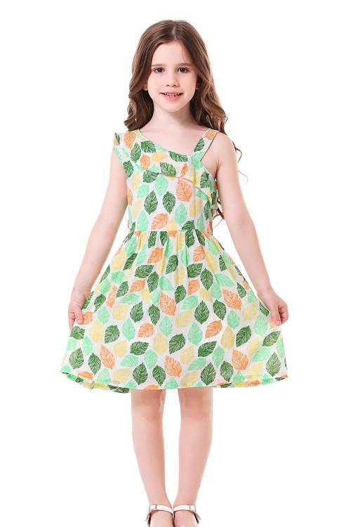 فستان بناتي بنمط اوراق شجر