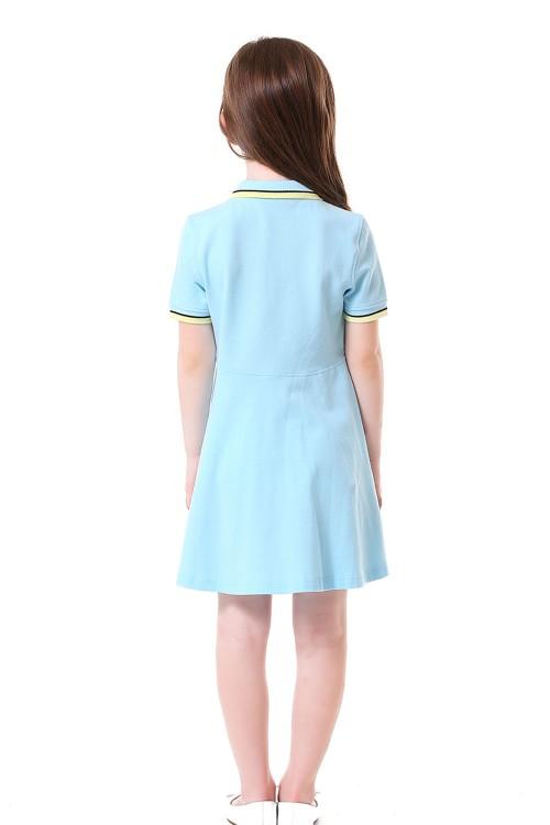 فستان بولو بناتي ازرق سماوي