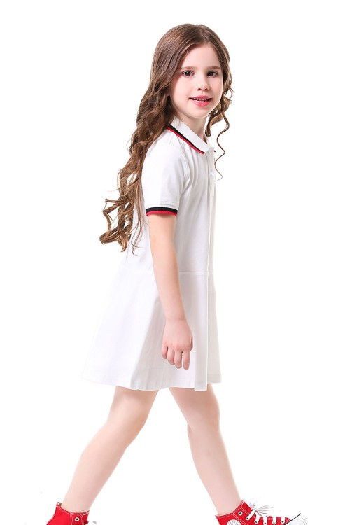فستان بولو بناتي ابيض