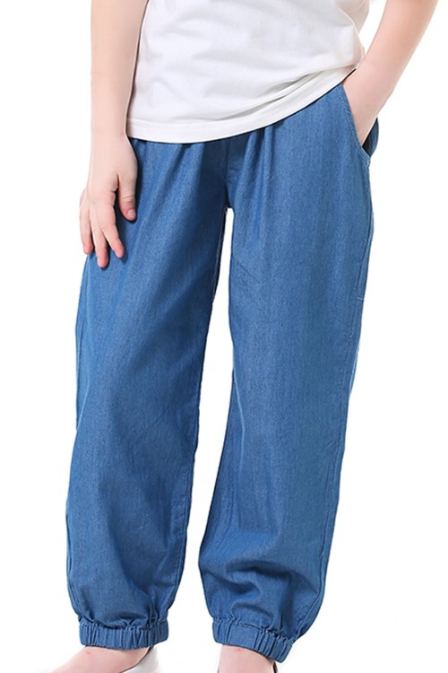 بنطلون جينز بناتي لون ازرق