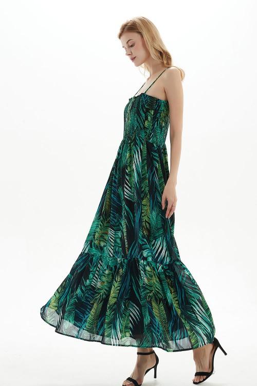 فستان نسائي اخضر بنمط ازهار