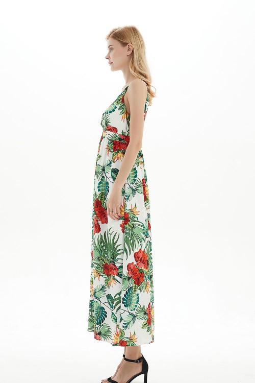 فستان نسائي ابيض بنمط ازهار