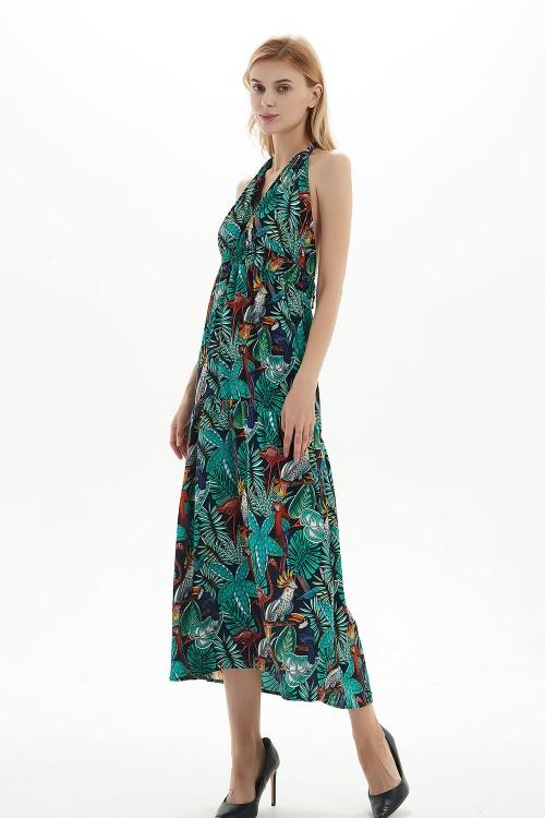 فستان نسائي اخضر بنمط زهري