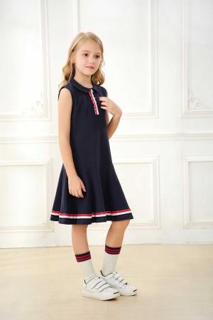 فستان بولو بناتي كحلي قطن