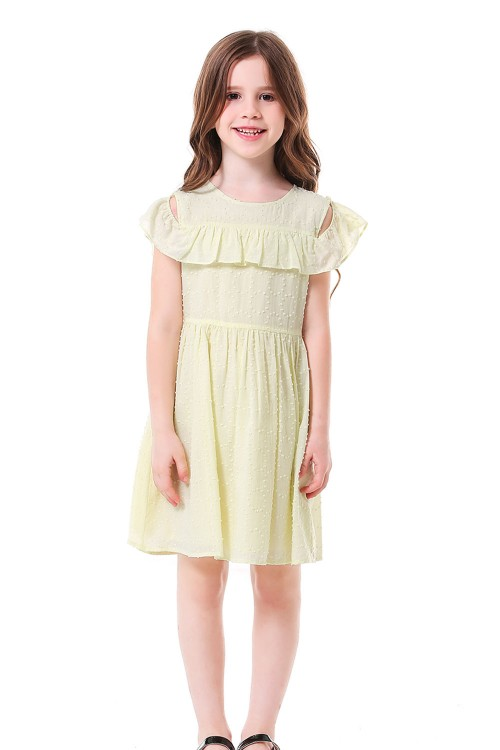 فستان بناتي اصفر