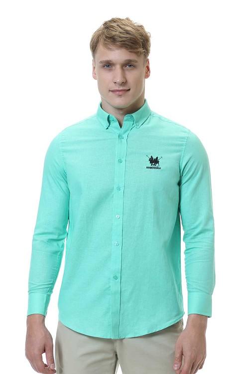 قميص رجالي اخضر قطن 100%
