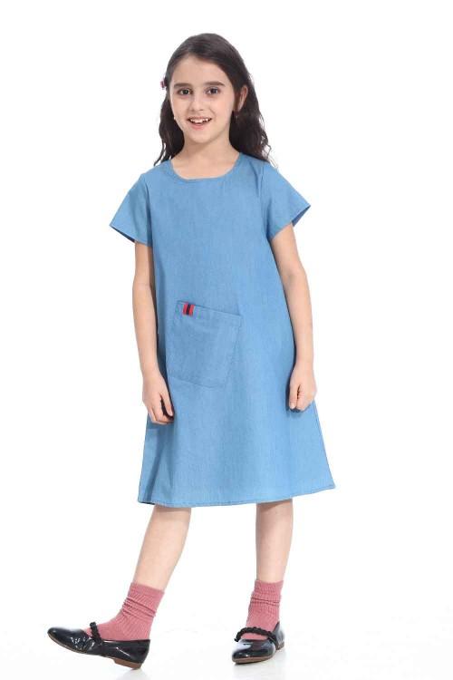 فستان جينز بناتي قطني ارزق