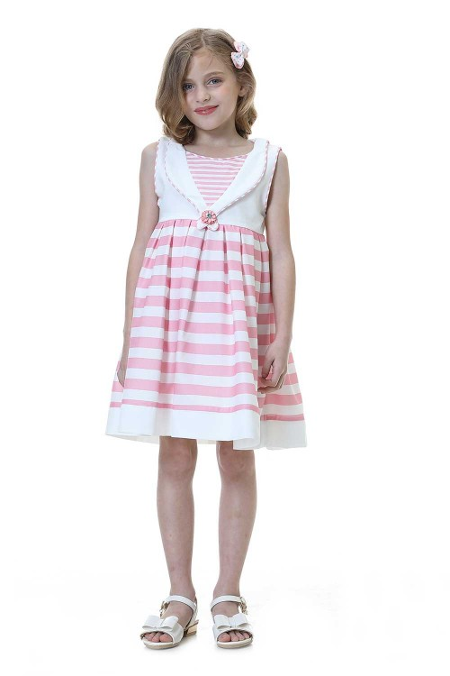 فستان بنات وردي وابيض