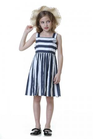 فستان بنات كحلي مخطط