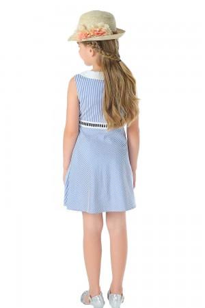 فستان بناتي قصير ازرق بدون اكمام