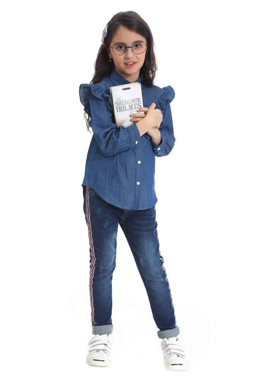 قميص جينز بناتي لون ازرق