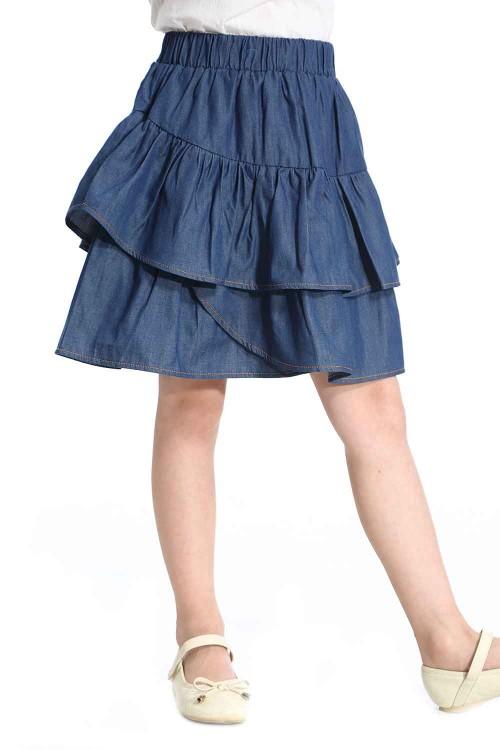 تنورة جينز بناتي قطن ازرق