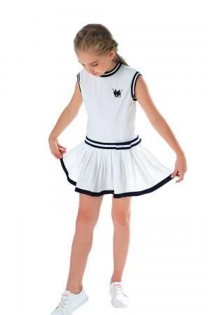 فستان بولو بناتي قصير ابيض