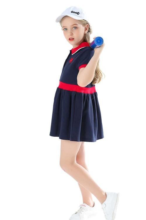 فستان بولو بناتي كحلي قصير