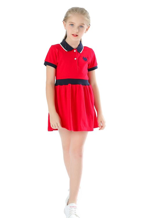 فستان بولو بناتي احمر قصير