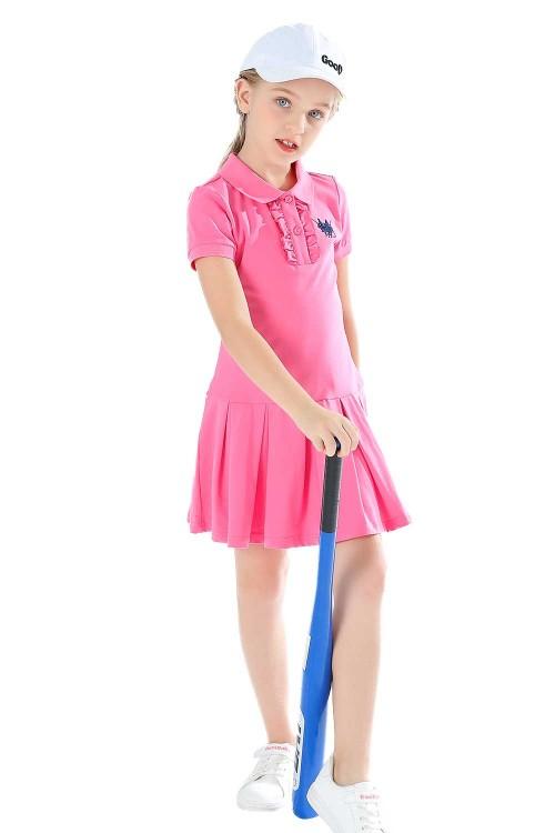 فستان بولو بناتي وردي قصير