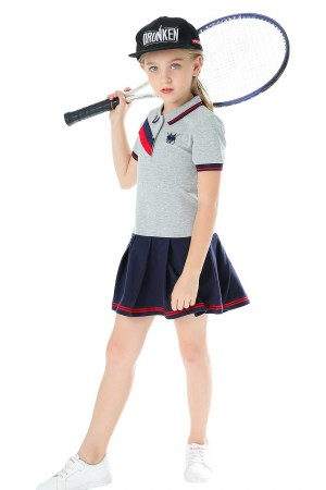 Polo Dress For Girls, Grey & Black