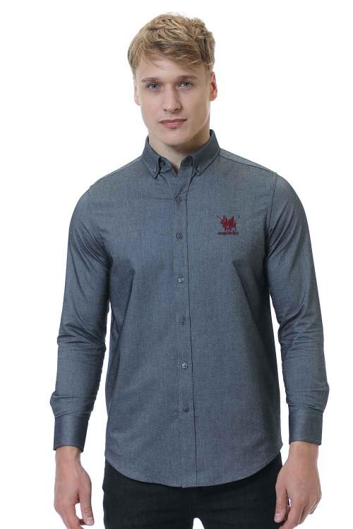 قميص رجالي قطن 100% رمادي