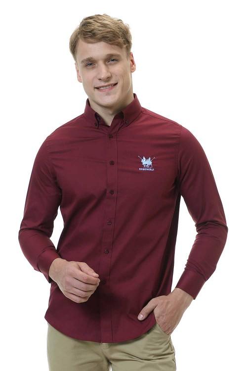 قميص رجالي خمري قطن 100%