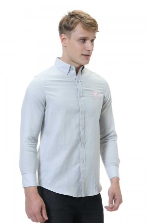 قميص رجالي رمادي قطن 100%