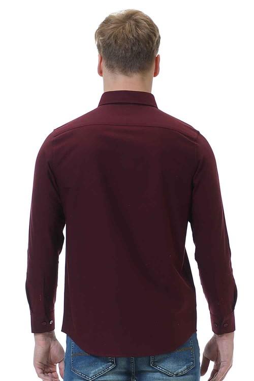 قميص رجالي قطن 100% خمري