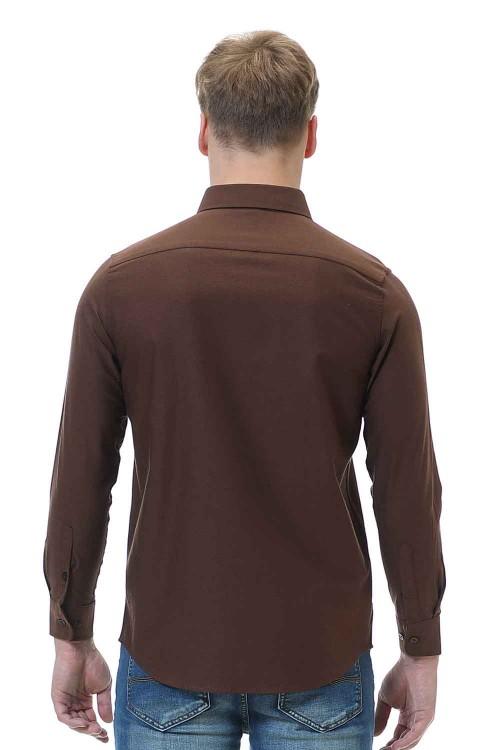 قميص رجالي بني قطن 100%