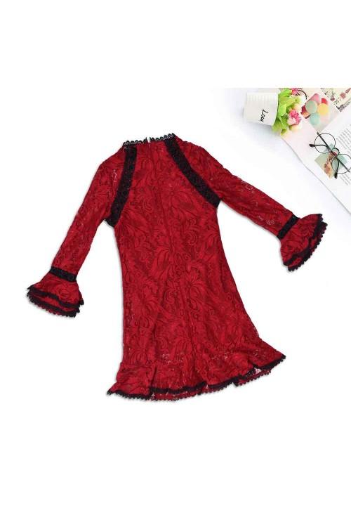 فستان بنات طويل دانتيل احمر، كم طويل