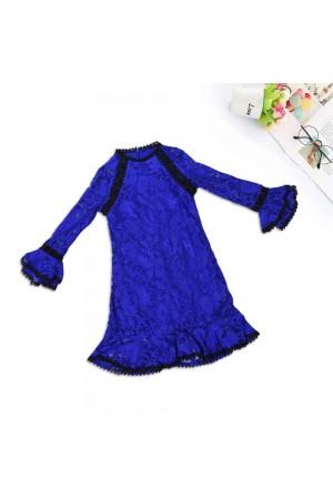 فستان بنات طويل دانتيل ازرق، كم طويل