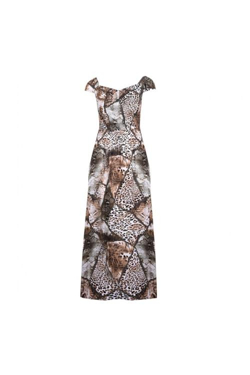 فستان نسائي كاجوال، لون نمري، بدون اكمام، من ريفرز وورلد