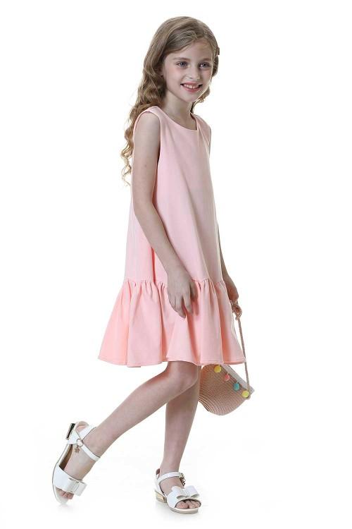 فستان بنات لون وردي