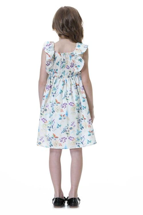 فستان بنات ابيض ووردي