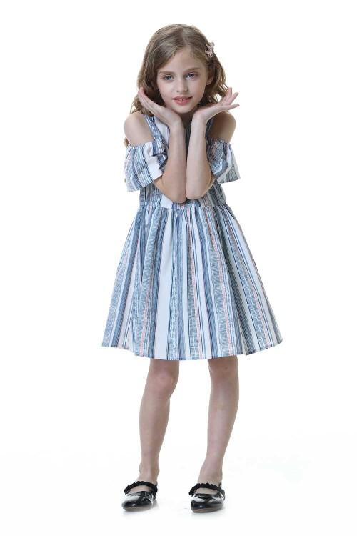 فستان بنات اسود مخطط