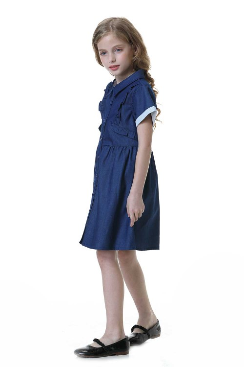 فستان جينز بنات لون ازرق
