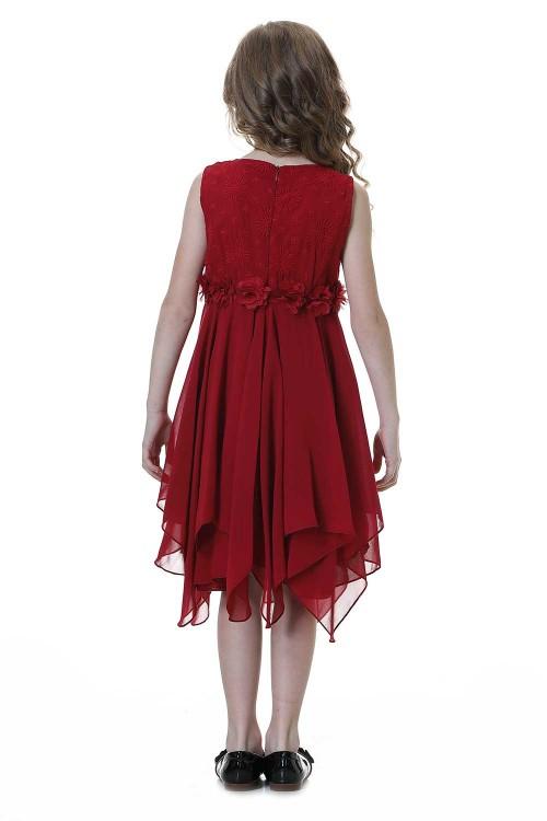فستان بنات لون خمري
