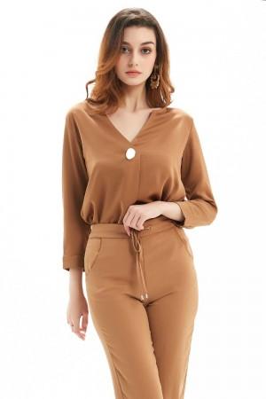 Beige Blouse For Women, Long Sleeves