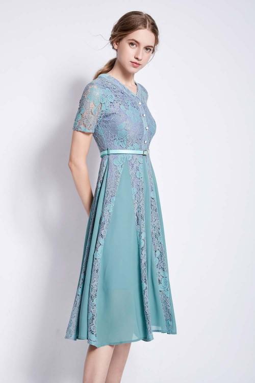 فستان نسائي قصير اخضر كم قصير
