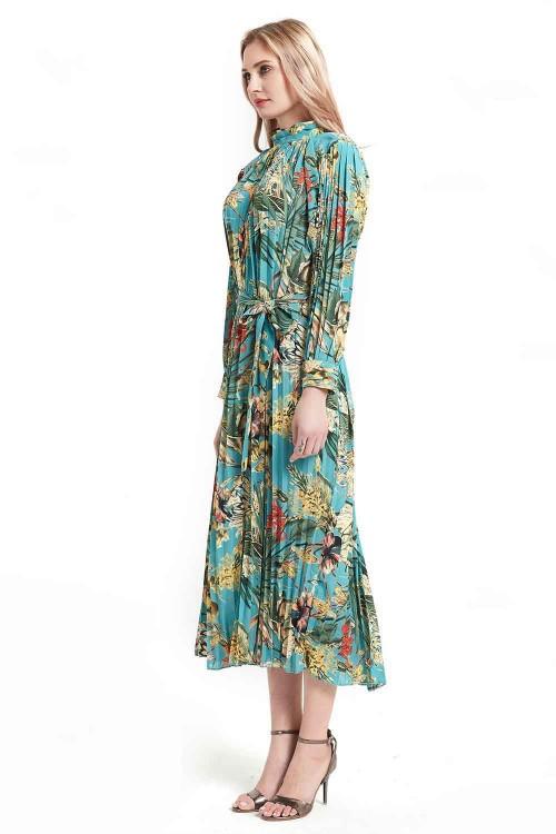 فستان نسائي لون اخضر مشجر