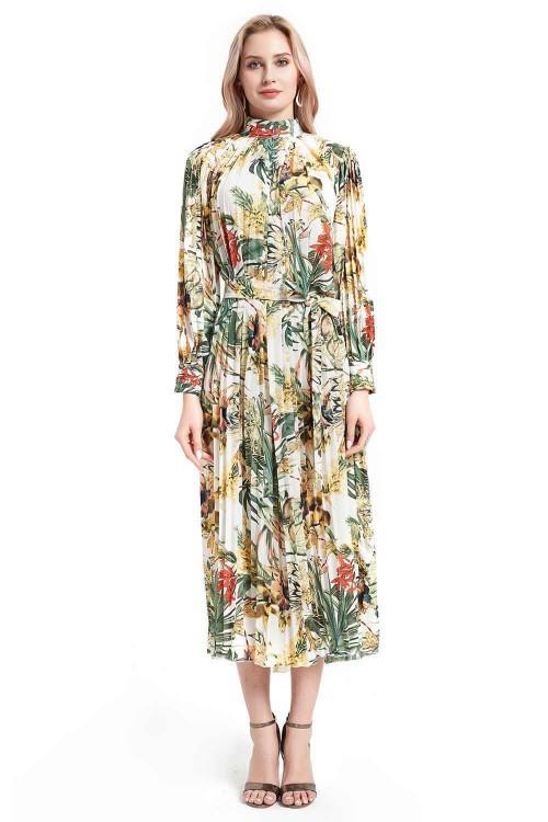 فستان ابيض مشجر نسائي