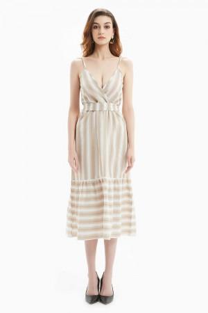 فستان نسائي لون كاكي بدون اكمام