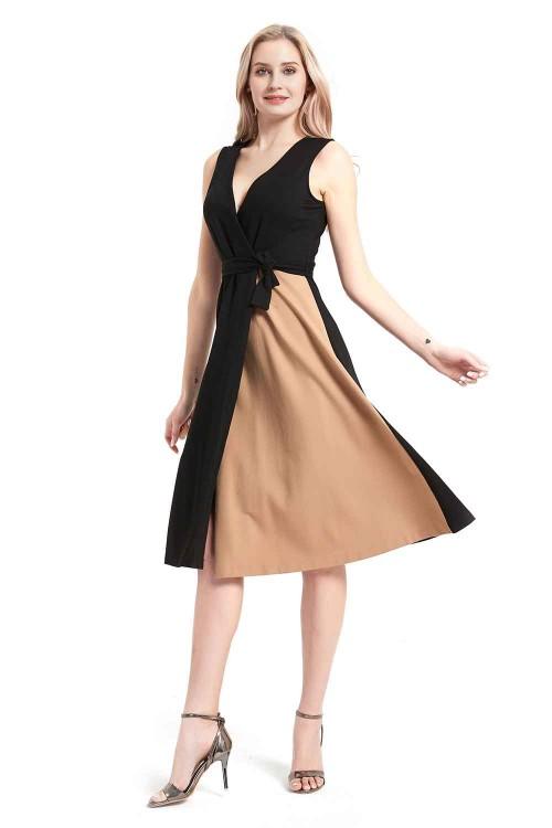 فستان نسائي لون اسود بدون اكمام